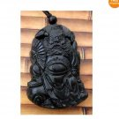 Black Green Jade Ghost Catcher Zhong Kui Amulet Pendant