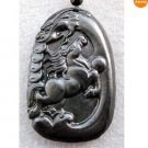 Black Green Jade Dragon Horse Coins Amulet Pendant