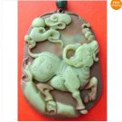 Two Layer Stone Chinese Zodiac Ox Cow Coins Amulet Pendant