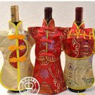 Red bottle couple bottles brocade fabric 3PC