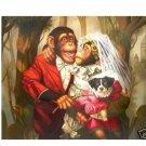 "Handicrafts Repro oil painting:""Monkey's wedding"" 24x36 c-01"
