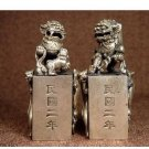 China's old Tibet-silver hand LongQiLin statue seal (A33)