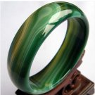 Wider thicker green & pattern Jade/agate bangle 214