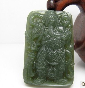Hotan jade Guan Yu amulet necklace pendant