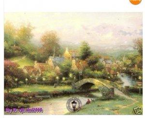"Handicrafts Art Repro oil painting:""Lamplight Village"""