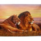 "Handicrafts Repro oil painting:""Two Lion In canvas"""