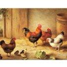 Handicrafts Art Repro oil painting:Chickens In Barnyard
