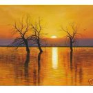 "Handicrafts Art Repro oil painting:""trees sunset water"""