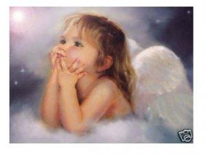 Handicrafts Repro oil painting:lovely little girl angel