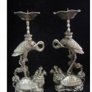 chinese Tibet Silver candlestick carved turtle swa pair
