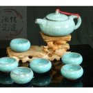 Violet arenaceous ice crack glaze kung fu tea set suit 【'the sky blue pot 】