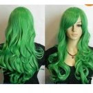 Fashion New Green Long Straight Wavy Cosplay Wig