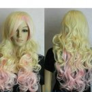 New Blonde + Pink Mix Long Curly Wavy Cosplay women Wig