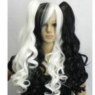 Split Type Wig Long Wavy Black + White Mix Cosplay Wig with Ponytails