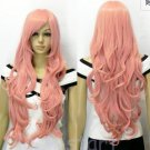 Fashion New Smoke wonderful pink curly wig Party women's full