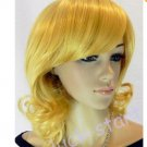 Yellow Charming! Short Wavy Curly Cosplay Party Lady Full Wig