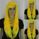 Charming Fashion Long Wavy Yellow Cosplay Hair Full Women's Wig