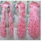 Mode heißen neuen Frauen-langen rosa Gelockt Cosplay Party Perücke FH63