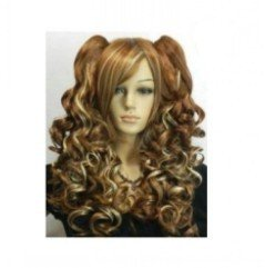 Long Wavy Dark brown + Blonde Mix Split Type Cosplay Wig with 2 Ponytails