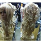 JF021 New Sexy long Blonde curly lady's hair wig