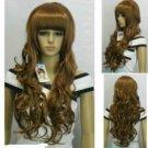 Excellent Dark brown Long Wavy Straight bangs women Wig wigs