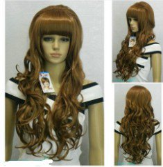 Excellent Dark brown Long Wavy Straight bangs women Wig wigs