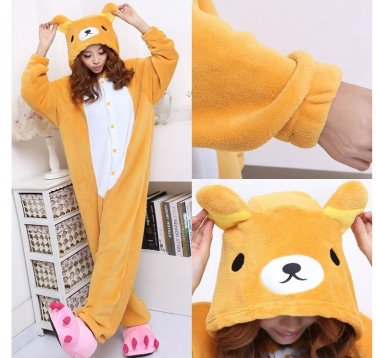 kigurumi pajamas cosplay costume adult men and women's dress (bear)
