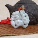 Natural Hand Carved Jade Lucky brave a two-sided cargo jade pendant necklace