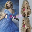 Wigs Women Anime Cosplay Cinderella Princess Long Curly Wavy Synthetic Full Wig
