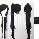 40'' Wavy Claw Clip Pony Tail Natural Black Cosplay Wig NEW