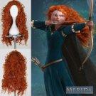 """New MERIDA BRAVE Movie Disguise """" Long Orange Curl Hair Cosplay Wig"""