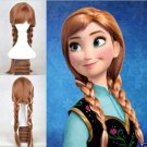 Wigs New Disney Princess Frozen Snow Queen Anna Cosplay Brown Weave Ponytail Wig