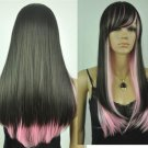 Hot Sale Cos black and pink mix long straight cosplay wig +gift