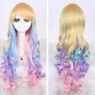 Fashion color colorful wig wig long roll