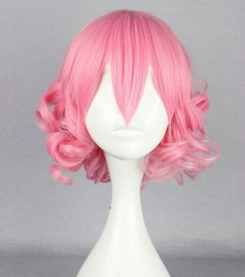 Lolita pink short curly hair vogue female girl party animation cartoon reality show hair wigs