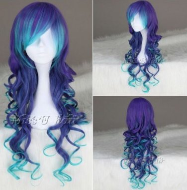 New cheap Blue & purple long Curly wig Cosplay Anime wig women party wigs