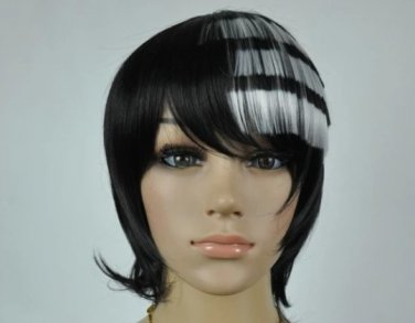 New wig Cosplay Death·The·Kid Black & White Mixed Short Heat Resistant Wig