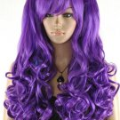 New purple curly wig Cosplay lolita split type heat resistant wig