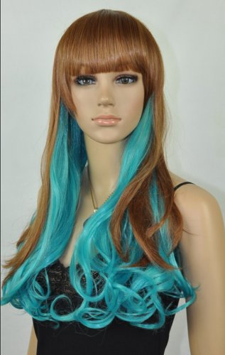 New Cosplay lolita Harajuku Brown / Turquoise Grren Long Wig