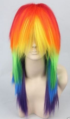 New wig Cosplay My Little Pony Rainbow Dash multi color Heat Resistant wig