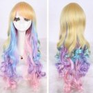 Fashion Long Charm Lolita Curly Wavy Color Mixed Anime Cosplay purple wig