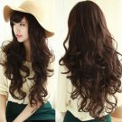 New Fashion Cosplay Party Brown Wig Women's Deep Wavy Curly Long Hair Full Wigs