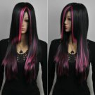 New Long Charm Lolita pink Black Mixed Straight Anime Cosplay wig