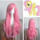 Hot Sell ! Pony Fluttershy Long Pink Cosplay Wavy Wig