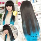 Black+Blue Fashion style cosplay party wigs womens full straight long hair wigs