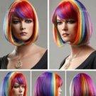 New Hot sales short BOB Multicolor Rainbow Cosplay Wigs