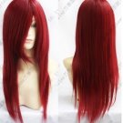 Heat Resistant dark red long straight Cosplay party Wig 70cm