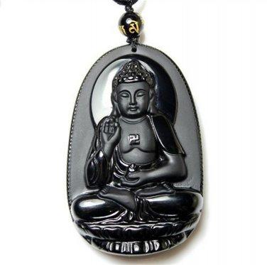 Obsidian amitabha jade necklace pendant