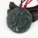 Xinjiang and Tian Yuqing natural hand-carved jade dragon and phoenix couple jade pendant necklace