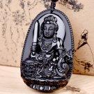Natural obsidian manjusri bodhisattva pendant of the zodiac